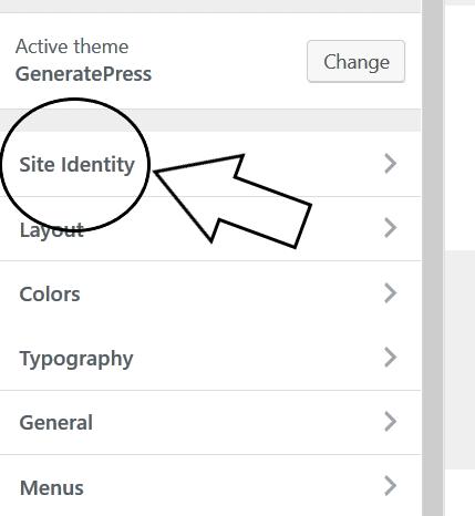 Step 2 - generatepress click site identity