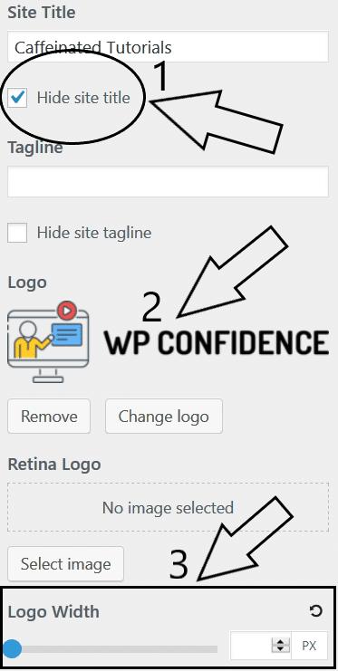 Step 3 - generatepress logo settings