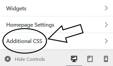 Step 4 Open the additional css option