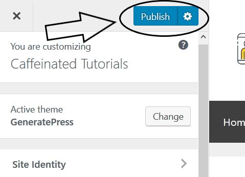 Step 6 - generatepress click publish to save
