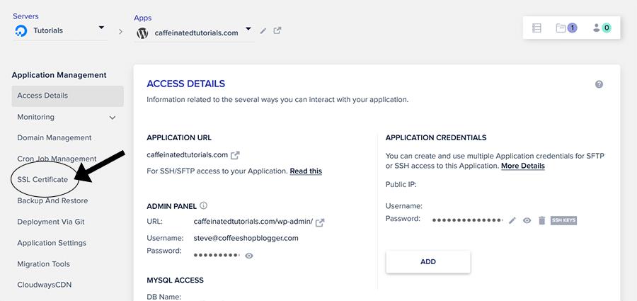 Click on SSL Certificate